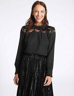 Lace Yoke Round Neck Long Sleeve Blouse, BLACK, catlanding