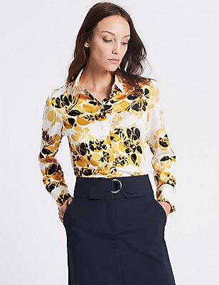Floral Print Long Sleeve Shirt, YELLOW MIX, catlanding
