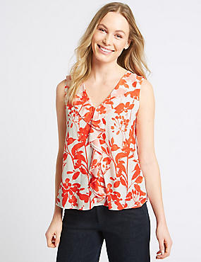Floral Print Frill V-Neck Vest Top , ORANGE MIX, catlanding