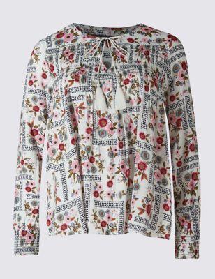 Блузка слим силуэта с цветочным принтом M&S Collection T436489