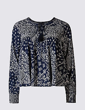 PETITE Notch Neck Long Sleeve Blouse, NAVY MIX, catlanding