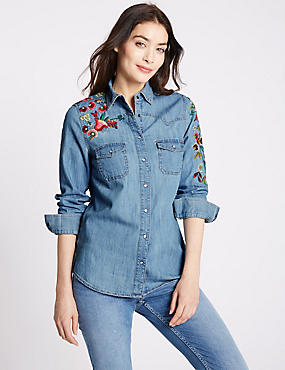 Pure Cotton Embroidered Denim Shirt, DENIM MIX, catlanding