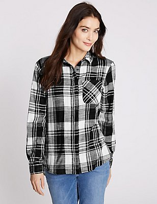 Pure Cotton Checked Long Sleeve Shirt, IVORY MIX, catlanding