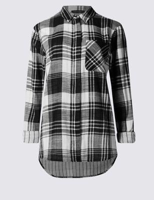 Рубашка из чистого хлопка с длинным рукавом на кнопках M&S Collection T436493