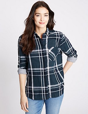 Pure Cotton Checked Long sleeve Shirt, BLUE MIX, catlanding