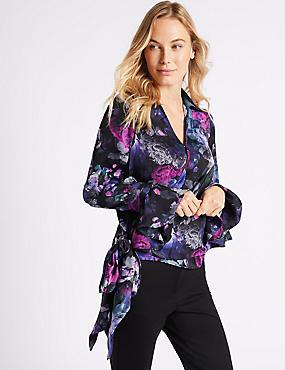 Floral Print Satin Wrap Tie Side Blouse, BLACK MIX, catlanding