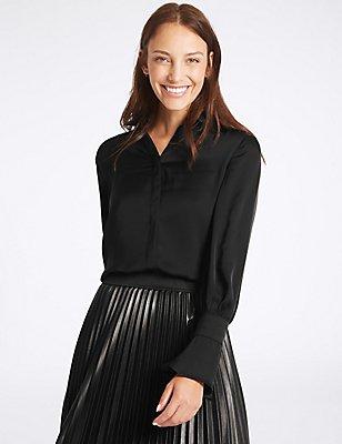 Satin Flute Sleeve Shirt, BLACK, catlanding