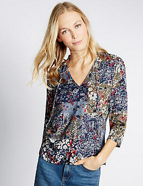 Ditsy Print V-Neck 3/4 Sleeve Shell Top, NAVY MIX, catlanding