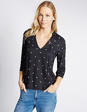 Geometric Print V-Neck 3/4 Sleeve Shell Top, NAVY MIX, catlanding