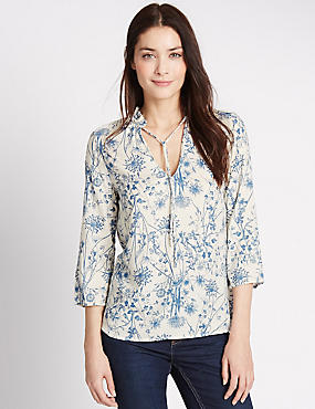 Dandelion Print 3/4 Sleeve Shell Top, WHITE MIX, catlanding