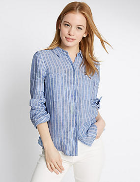 PETITE Pure Linen Striped Long Sleeve Shirt, BLUE MIX, catlanding