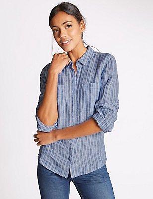 Zuiver linnen overhemd met lange mouwen en strepen, BLAUW MIX, catlanding