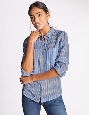 Pure Linen Striped Long Sleeve Shirt, BLUE MIX, catlanding