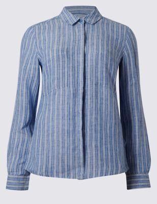 Рубашка из льна в полоску с длинным рукавом M&S Collection T436506