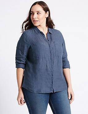 PLUS Pure Linen Long Sleeve Shirt, NAVY, catlanding