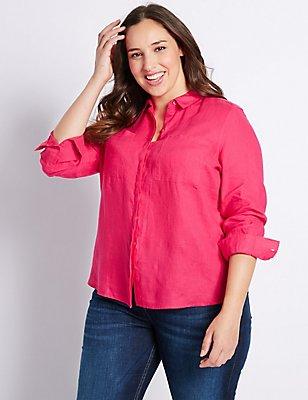 PLUS Pure Linen Long Sleeve Shirt, HOT PINK, catlanding