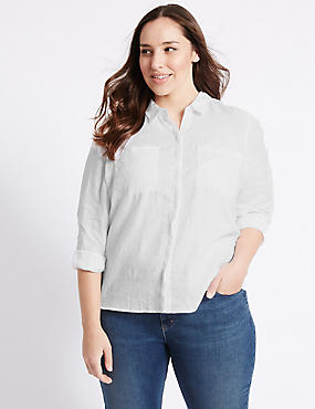 PLUS Pure Linen Long Sleeve Shirt, WHITE, catlanding