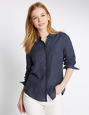 PETITE Pure Linen Turn Up Sleeve Shirt, NAVY, catlanding