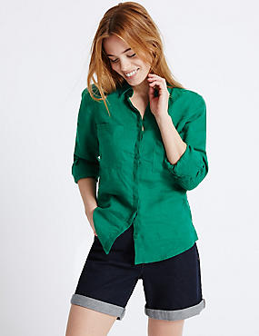 PETITE Pure Linen Turn Up Sleeve Shirt, EMERALD, catlanding