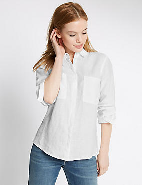 PETITE Pure Linen Turn Up Sleeve Shirt, WHITE, catlanding