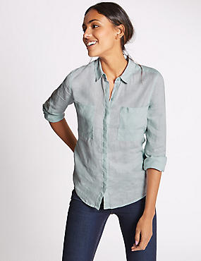 Pure Linen Collared Neck Long Sleeve Shirt, LIGHT BLUE, catlanding
