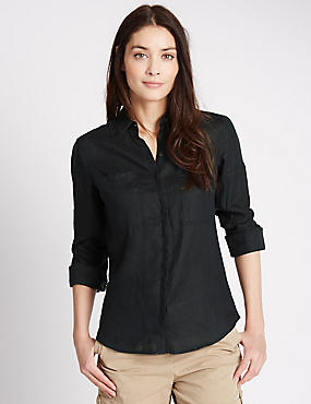 Pure Linen Collared Neck Long Sleeve Shirt, NAVY, catlanding