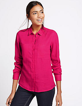 Pure Linen Collared Neck Long Sleeve Shirt, HOT PINK, catlanding