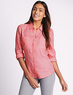 Pure Linen Collared Neck Long Sleeve Shirt, BUBBLEGUM, catlanding