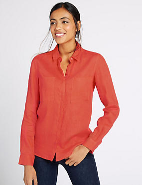 Pure Linen Long Sleeve Shirt, ORANGE, catlanding
