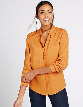 Pure Linen Long Sleeve Shirt, TANGERINE, catlanding