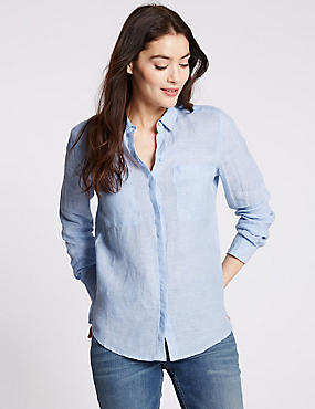 Pure Linen Collared Neck Long Sleeve Shirt, CHAMBRAY, catlanding