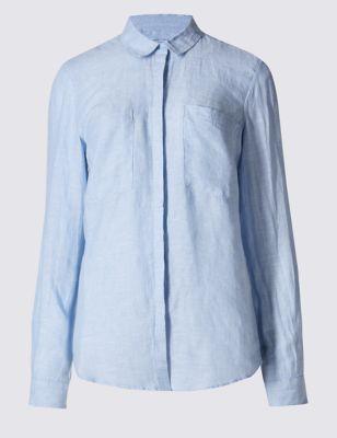 Рубашка из чистого льна на пуговицах M&S Collection T436507
