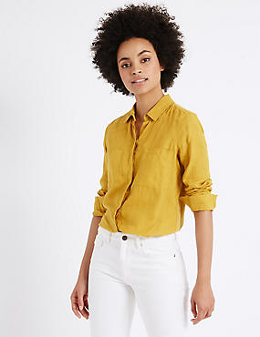 Pure Linen Long Sleeve Shirt, MUSTARD, catlanding