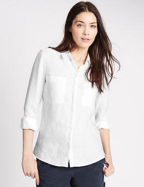 Pure Linen Collared Neck Long Sleeve Shirt, WHITE, catlanding