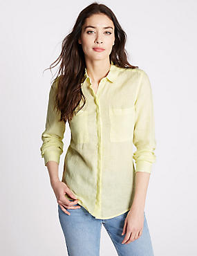 Pure Linen Collared Neck Long Sleeve Shirt, CITRUS, catlanding