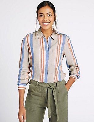Pure Linen Striped Long Sleeve Shirt, NATURAL MIX, catlanding