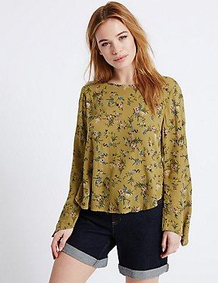 PETITE Floral Print Long Sleeve Blouse, KHAKI MIX, catlanding