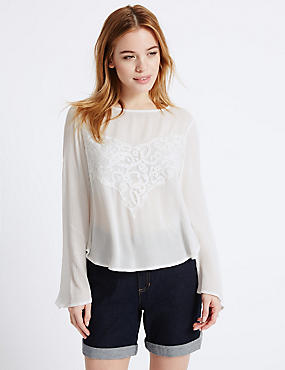 PETITE Long Sleeve Romantic Blouse, IVORY MIX, catlanding