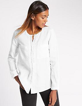 Overhemd van biologisch linnen met lange mouwen, WIT, catlanding