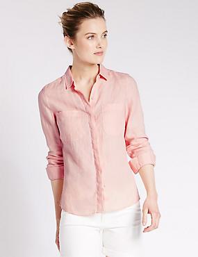 Overhemd van zuiver linnen, ROZE, catlanding