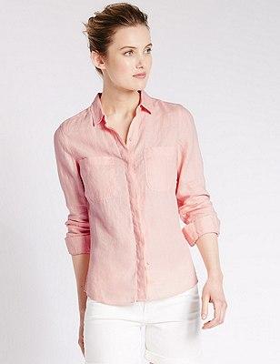 Pure Linen Shirt, PINK, catlanding