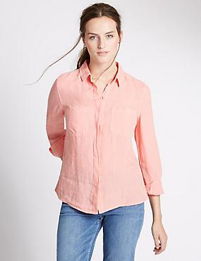 Overhemd van zuiver linnen, KORAAL, catlanding