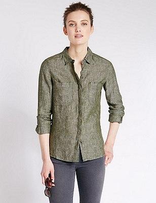 Pure Linen Shirt, KHAKI, catlanding