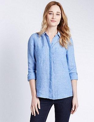 Pure Linen Shirt, CHAMBRAY, catlanding