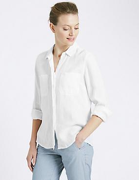 Overhemd van zuiver linnen, WIT, catlanding