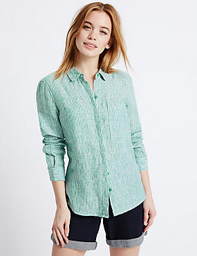 PETITE Pure Linen Striped Long Sleeve Shirt, GREEN MIX, catlanding