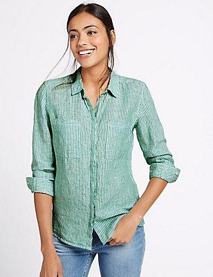 Pure Linen Striped Long Sleeve Shirt, GREEN MIX, catlanding