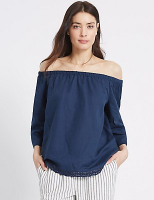 Linen Rich Slash Neck 3/4 Sleeve Bardot Top, NAVY, catlanding