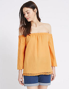 Linen Rich Slash Neck 3/4 Sleeve Bardot Top, TANGERINE, catlanding