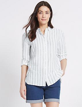 Linen Rich Striped Long Sleeve Shirt, WHITE MIX, catlanding
